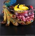欧式创意孔雀大号水晶玻璃水果盘  2