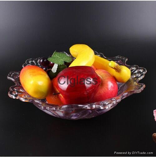 歐式創意孔雀大號水晶玻璃水果盤  5