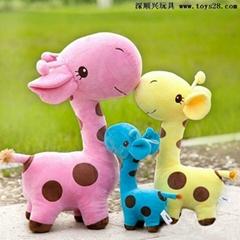 彩色长颈鹿毛绒玩具公仔