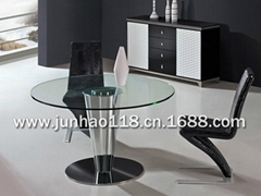 Hotel dining table, tempered glass table, toughened glass round table
