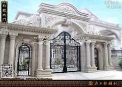 歐式別墅石材圍牆大門