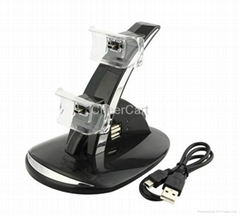 Blue Light Dual Controller USB Charging Cradle/ Dock for PS3 Black