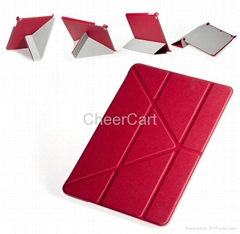 Ultra Slim PU Leather Smart Stand Transformer Cross Folding for Apple iPad 5 Air
