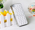 Luxury PU Leather Case for Apple iPhone 4 4S / 5 5S Soft Grid Pattern Back Skin