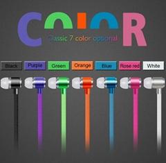 High Quality Metal Earphone Shoelace In Ear Headset handsfree Stereo Headphones