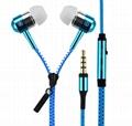 Metal Zipper In Ear Earphones Sport Headset 3.5mm Universal Earbuds with Mic