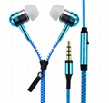 Metal Zipper In Ear Earphones Sport Headset 3.5mm Universal Earbuds with Mic