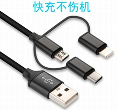 3 in 1 USB Cable For iPhone Micro USB Type C Mutil Charger Cable