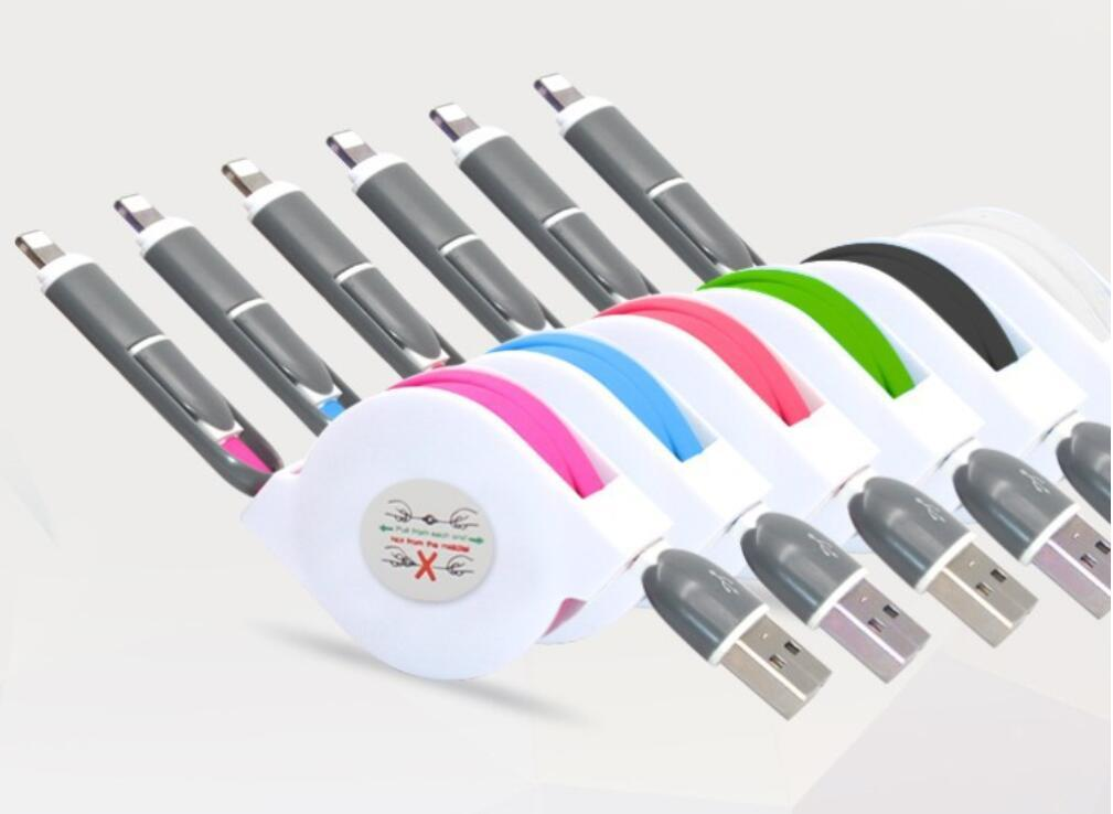 Retractable 2 in 1 Micro Charger USB Cable For IPhone Samsung Android 2
