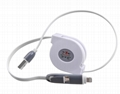 Retractable 2 in 1 Micro Charger USB Cable For IPhone Samsung Android 3