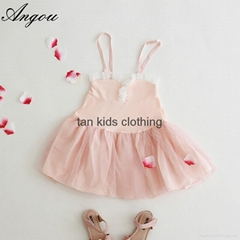 Angou New baby Girls slip dress Toddler Kids Clothes Sleeveless girl Tutu Dress