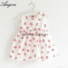 Angou New summer girls dress Fashion Printed Dress Baby Girls Dress Cotton
