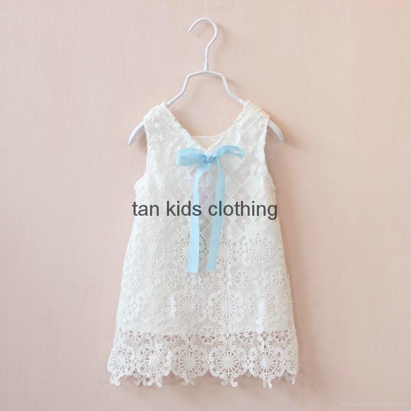 Agnou Summer Lace Vest Girls Dress Baby Girl Princess Dress Chlidren Clothes  4