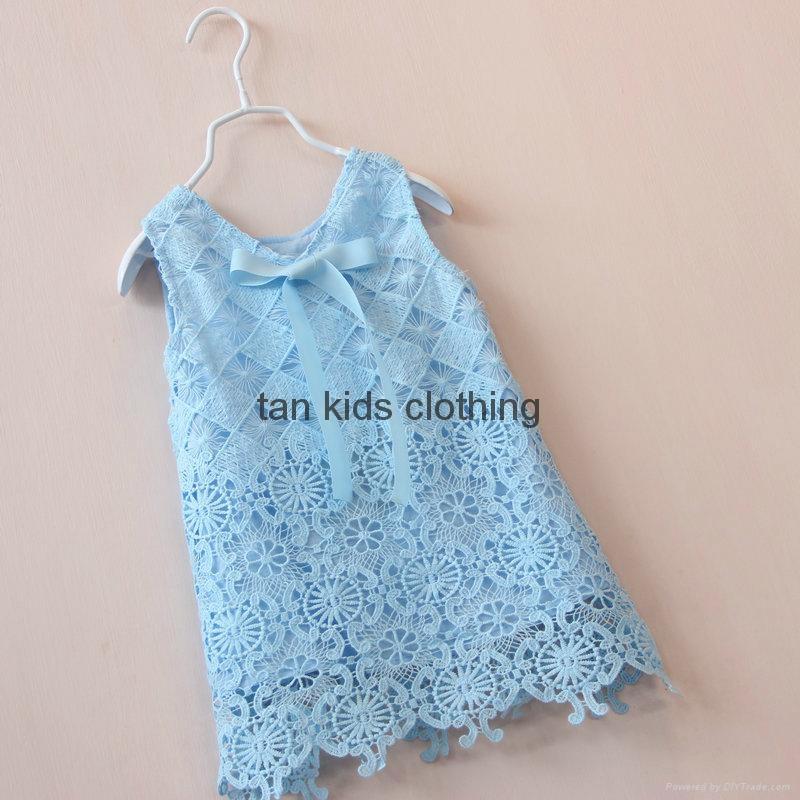 Agnou Summer Lace Vest Girls Dress Baby Girl Princess Dress Chlidren Clothes  2