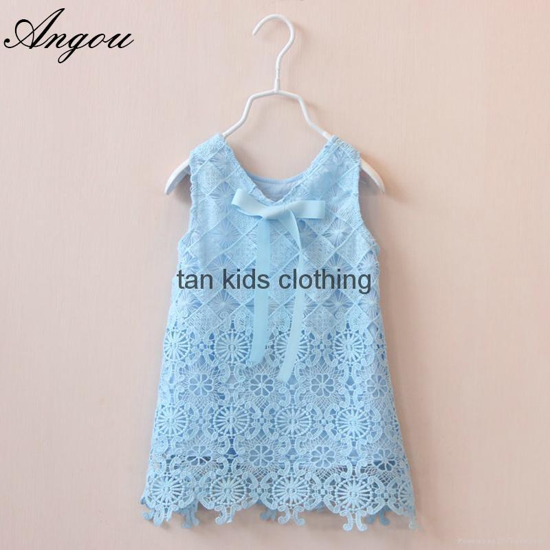 Agnou Summer Lace Vest Girls Dress Baby Girl Princess Dress Chlidren Clothes  1