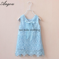 Agnou Summer Lace Vest Girls Dress Baby Girl Princess Dress Chlidren Clothes