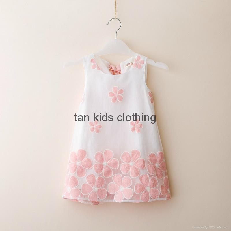 Angou summer girls dress children clothing sleeveless flower printed dress 2