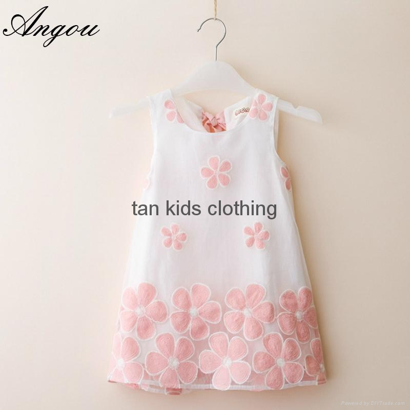 Angou summer girls dress children clothing sleeveless flower printed dress 1