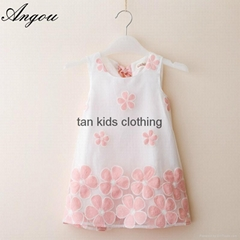Angou summer girls dress children clothing sleeveless flower printed dress