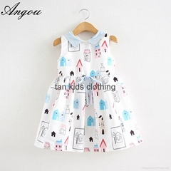 Angou Girls Dress Brand Fashion Princess Dress Designer Character Painting dress