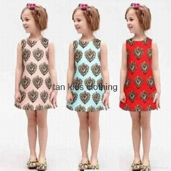 Angou European Girls Dresses Summer Baby Girls Dress Sleeveless New Brand