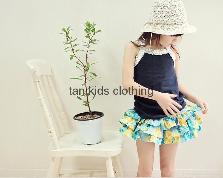 Angou Summer Kids Girl Floral Pattern Short Pants Cuffed Leg Cotton dress pants  4