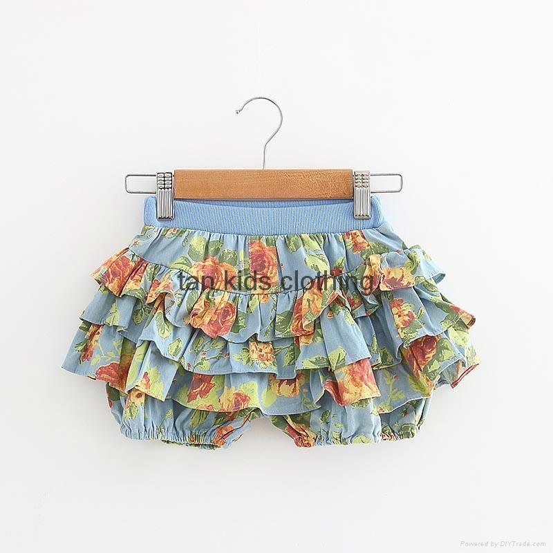 Angou Summer Kids Girl Floral Pattern Short Pants Cuffed Leg Cotton dress pants  3