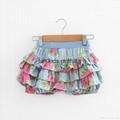 Angou Summer Kids Girl Floral Pattern Short Pants Cuffed Leg Cotton dress pants  2