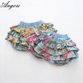 Angou Summer Kids Girl Floral Pattern Short Pants Cuffed Leg Cotton dress pants  1