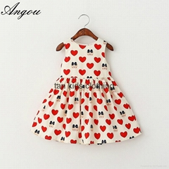 Angou Summer Girls Dress Tutu Princess Baby Dress Dot girl clothing Casual dress