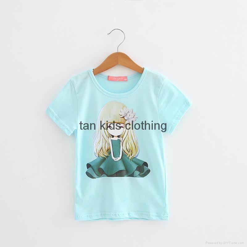 Angou cotton branded baby girls t shirts clothing children for Dark denim toddler shirt