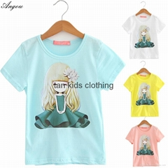 Angou Cotton Branded Baby Girls T-Shirts Clothing Children Toddler Kids Clothes