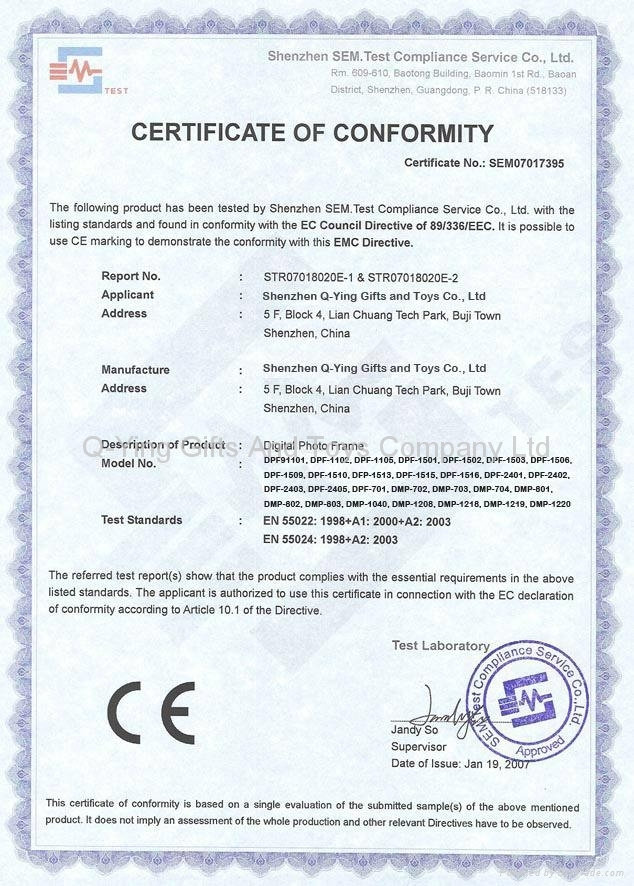 CE Certificate of Digial Photo Frame