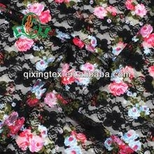 Hot sexi black polyamide elastane lace fabric