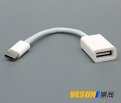USB 3.1 Type C Male to USB 3.0 Female OTG Data Cable Adapter for Macbook 12