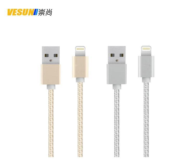 合金编织面条扁线  IPHONE6铝合金数据线 通用USB数据线 1