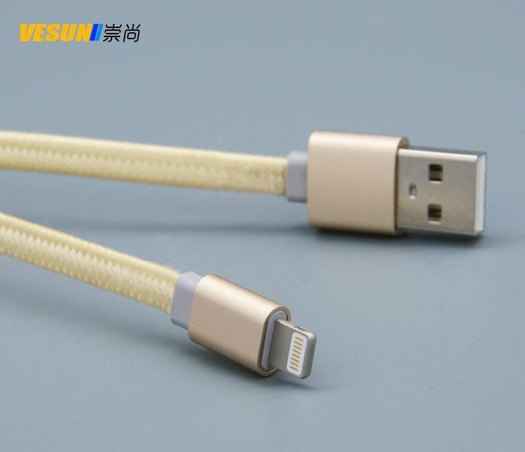 合金编织面条扁线  IPHONE6铝合金数据线 通用USB数据线 2