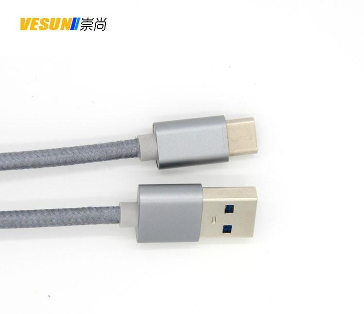 USB3.1 TYPE C轉USB3.0A公數據線 金屬鋁殼+尼龍編織  3