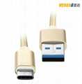 USB 3.1 Braided Type C Cable Fast Charging, USB-C to USB-A Cable