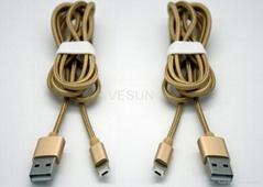 一一头两用 二合一数据线苹果iPhone 安卓通用2A金属尼龙手机充电线