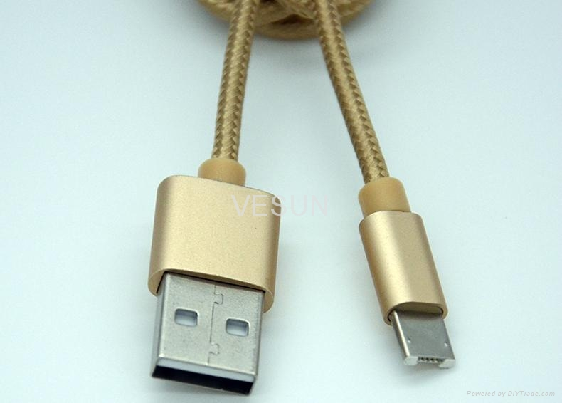一一頭兩用 二合一數據線蘋果iPhone 安卓通用2A金屬尼龍手機充電線 3