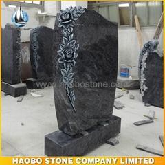 Beautiful Flower Carved Bahama Blue Granite Tombstones
