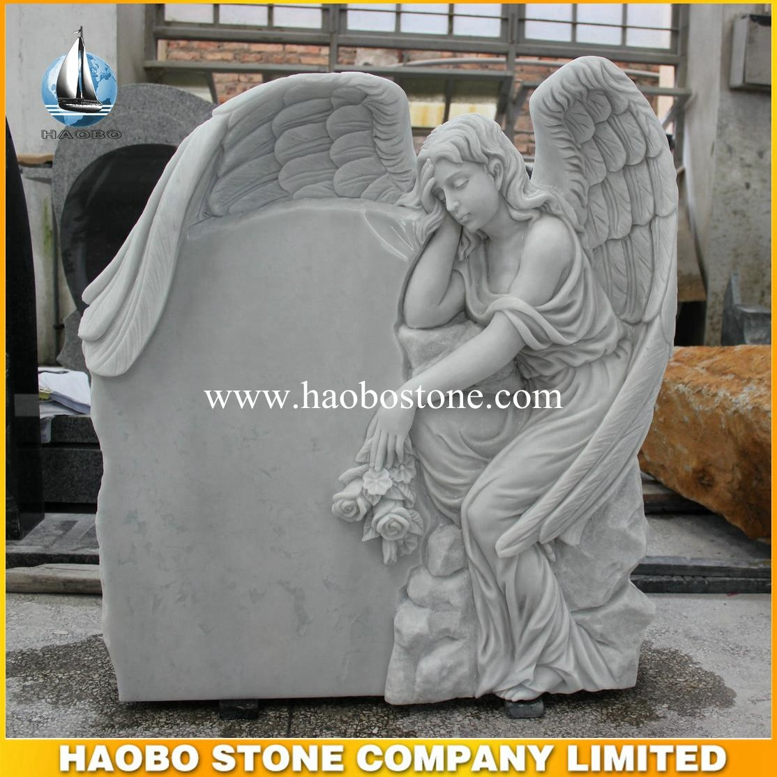 China White Marble Angel Headstone Hblm10 Haobo Stone