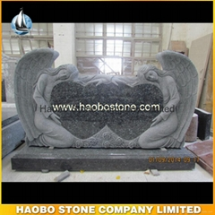 Beautiful Blue Pearl Granite Double Angel Heart Headstone And Monuments