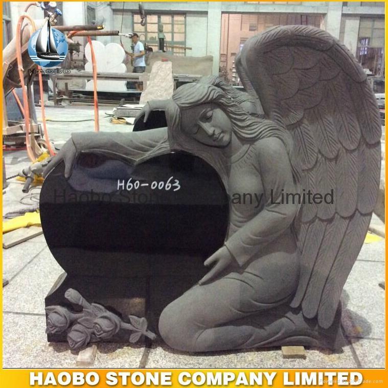 Black Granite Singel Angel Heart Headstone 1