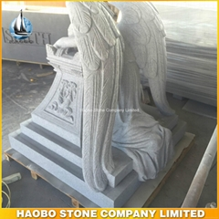 Hand Carved Grey Granite Angel of Grief Big Monument