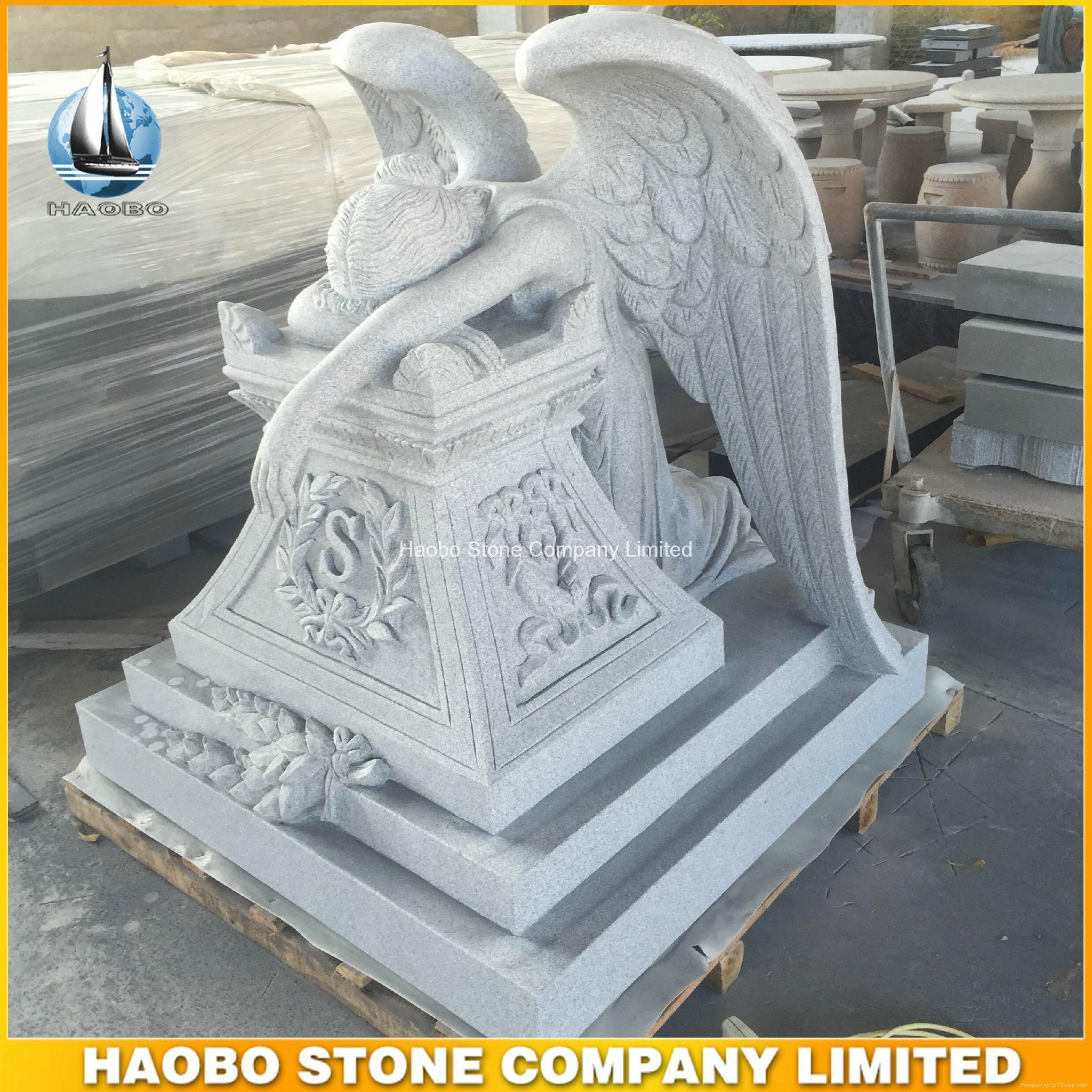 Hand Carved Grey Granite Angel of Grief Big Monument  2