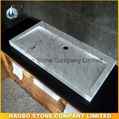 Italian Carrara White Marble Stone Bathroom Sink