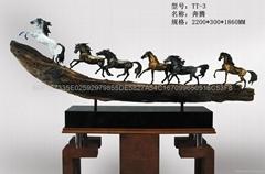 銅雕工藝品八駿馬