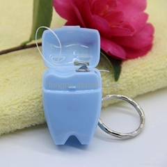 Lovely15m mint flavor tooth shape dental floss with keychain